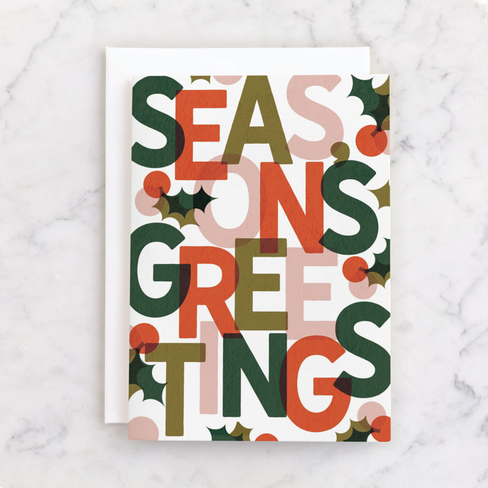 """""""Color Block Season's Greetings"""" - Individual Holiday Greeting Cards in Persimmon by Lissabeth Anglin."""