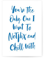 This is a blue friendship card by Hooray Creative called Netflix and Chill with standard printing on signature in greeting cards.