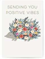 This is a white friendship card by Afton Harding called Porcupine Bloom with standard printing on signature in greeting cards.