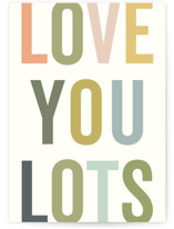 This is a colorful friendship card by Sara Hicks Malone called love you lots (and lots) with standard printing on signature in greeting cards.