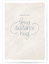 This is a beige friendship card by Carolyn Kach called Long Distance Hug with standard printing on signature in greeting cards.
