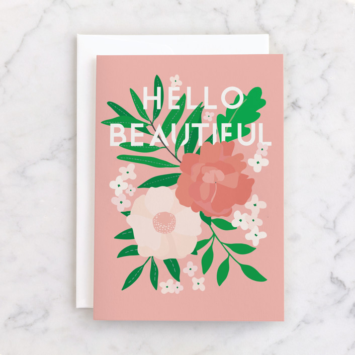 """""""Floral Happy Birthday"""" - Individual Just Because Greeting Cards in Rose by Vera Lim."""