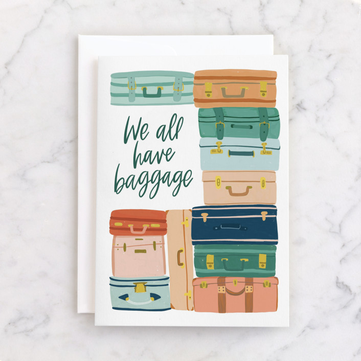 """""""Baggage"""" - Individual Just Because Greeting Cards in Evergreen by Alicia Schultz."""
