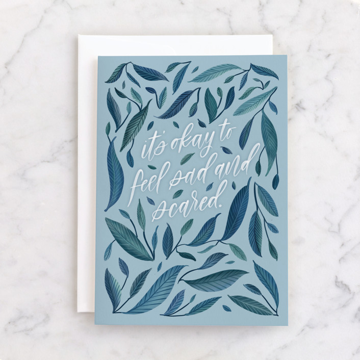 """It's Okay"" - Individual Just Because Greeting Cards in Navy by Carolyn Kach."