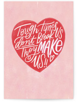 This is a pink friendship card by Carrie ONeal called Tough Times with standard printing on signature in greeting cards.