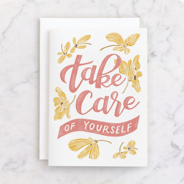 """Take Care"" - Individual Just Because Greeting Cards in Blush by Lissabeth Anglin."