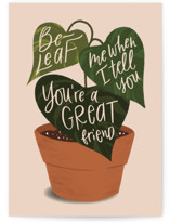 This is a orange friendship card by Leah Bisch called Beleaf Me with standard printing on signature in greeting cards.