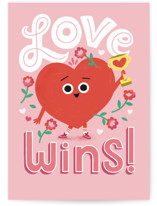 This is a pink friendship card by Morgan Ramberg called Love Wins with standard printing on signature in greeting cards.