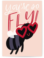 This is a pink friendship card by Leah Bisch called So Fly with standard printing on signature in greeting cards.