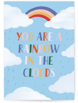 This is a blue friendship card by Pati Cascino called Rainbow in Cloudy Days with standard printing on signature in greeting cards.