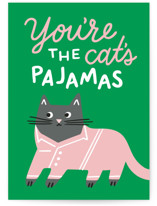 This is a green greeting card by Genna Blackburn called Cat's Pajamas with standard printing on signature in greeting cards.