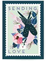 This is a blue friendship card by Eve Schultz called Postage stamp with standard printing on signature in greeting cards.