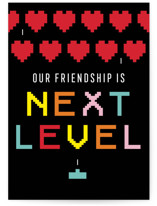 This is a red greeting card by Loree Mayer called next level with standard printing on signature in greeting cards.