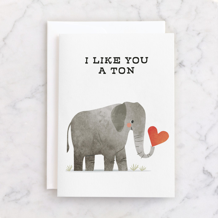 """""""sweet elelphant"""" - Individual Just Because Greeting Cards in Snow by Karidy Walker."""