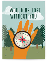 This is a blue friendship card by Annie Holmquist called Lost without you with standard printing on signature in greeting cards.