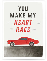 This is a red friendship card by Karidy Walker called sporty race car with standard printing on signature in greeting cards.