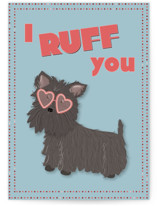 This is a blue friendship card by Hannah Knaphus called Ruff You with standard printing on signature in greeting cards.