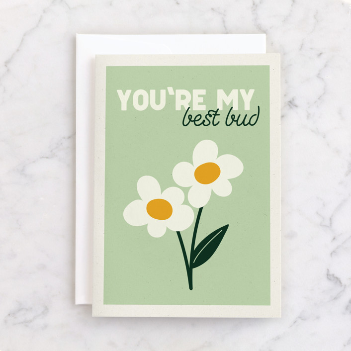 """""""We're the Best of Buds"""" - Individual Just Because Greeting Cards in Wasabi by Calee A.H. Cecconi."""