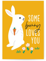 This is a yellow greeting card by Genna Blackburn called Some Bunny with standard printing on signature in greeting cards.