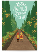 This is a green friendship card by Lauren Jinhee called Adventure Together with standard printing on signature in greeting cards.