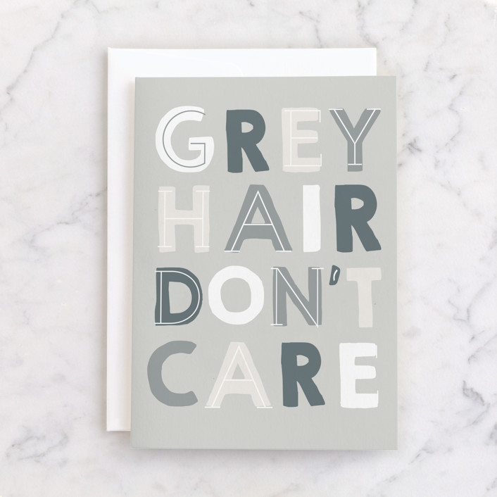 """""""Grey Hair"""" - Individual Just Because Greeting Cards in Grey by Baumbirdy."""