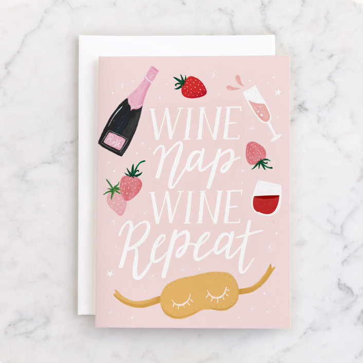 """""""WINE NAP REPEAT"""" - Individual Just Because Greeting Cards in Blush by Cindy Chu."""