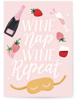 This is a pink friendship card by Cindy Chu called WINE NAP REPEAT with standard printing on signature in greeting cards.