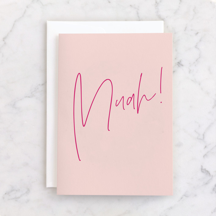 """""""Muah!"""" - Individual Just Because Greeting Cards in Blush by Ana Sharpe."""