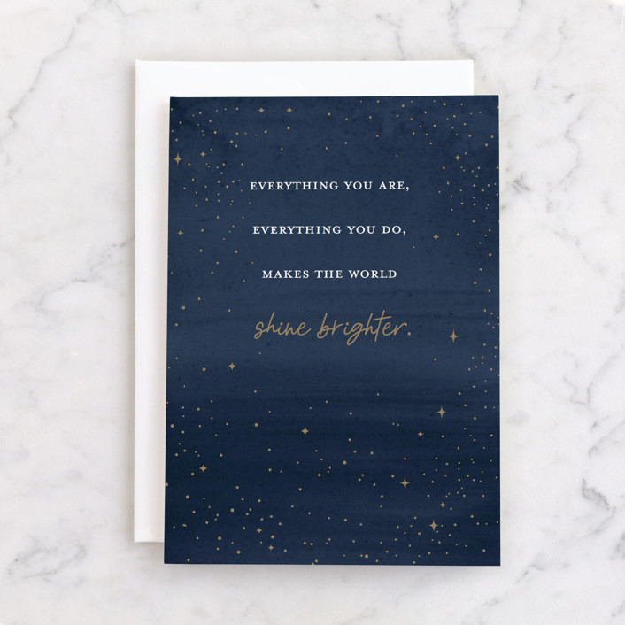 """""""Keep Shining"""" - Individual Just Because Greeting Cards in Midnight by Pixel and Hank."""