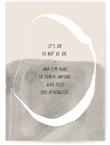 This is a beige friendship card by Annie Clark called It's Ok with standard printing on signature in greeting cards.