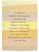This is a yellow friendship card by Sara Hicks Malone called no filter friend with standard printing on signature in greeting cards.