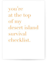 This is a orange friendship card by Alexandra Cohn called Desert Island  with standard printing on signature in greeting cards.