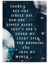 This is a blue friendship card by Gwen Bedat called Lucky Star with standard printing on signature in greeting cards.