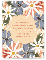 This is a blue friendship card by Erin L. Wilson called No matter how long with standard printing on signature in greeting cards.