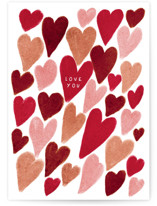 This is a red friendship card by Vivian Yiwing called Hearts with standard printing on signature in greeting cards.