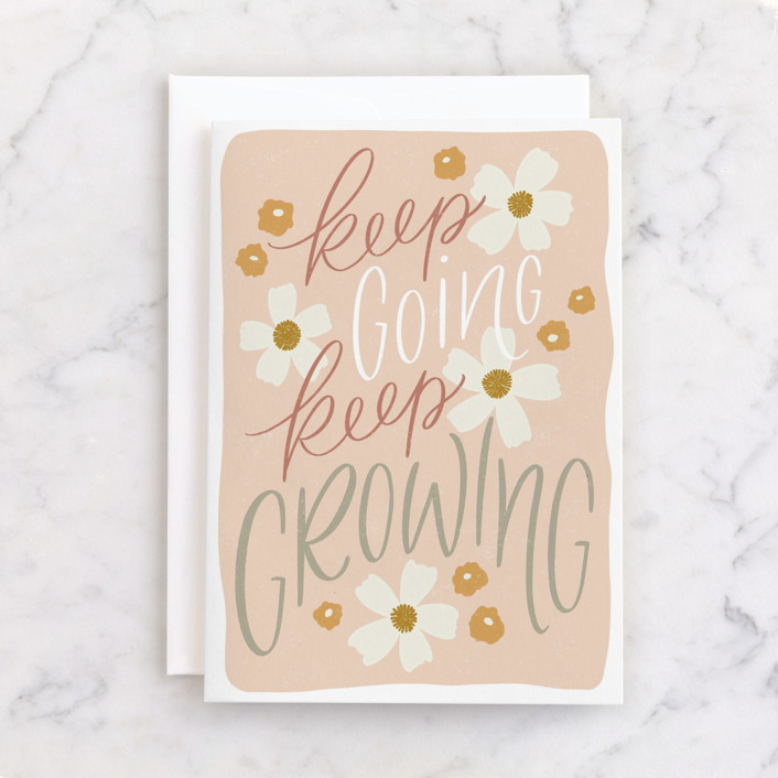 """""""Keep Going, Keep Growing"""" - Individual Just Because Greeting Cards in Blush by Erin German."""