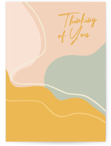 This is a yellow friendship card by Beth Vassalo called Earthy Abstract Thinking of You with standard printing on signature in greeting cards.