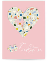 This is a pink friendship card by Yaling Hou Suzuki called you complete me with standard printing on signature in greeting cards.