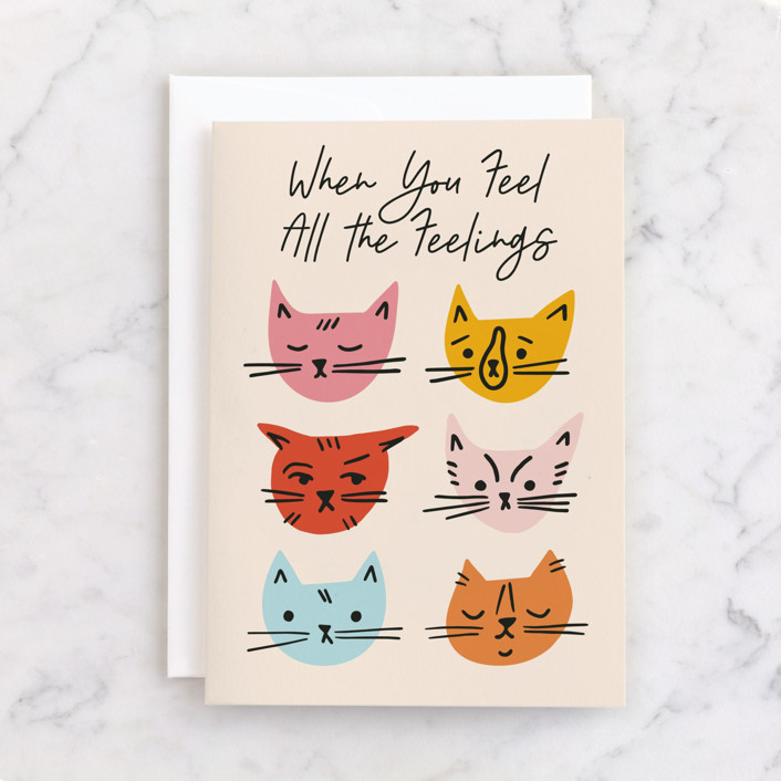 """""""Cat Faces"""" - Individual Just Because Greeting Cards in Blush by Genna Blackburn."""