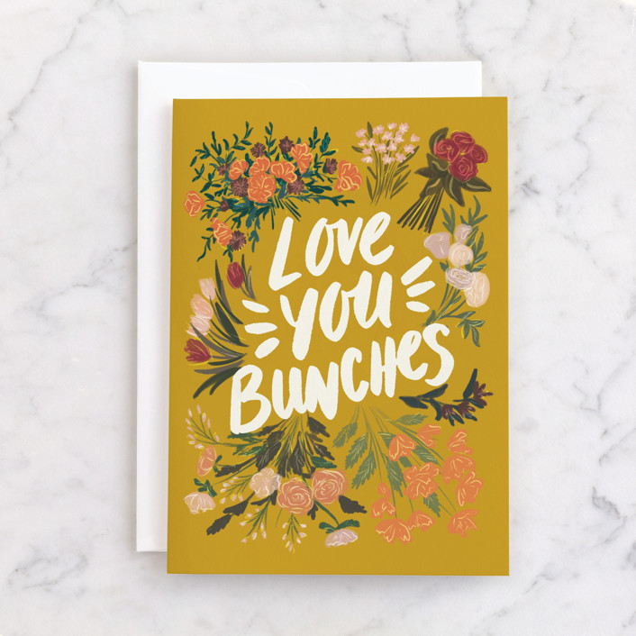 """""""Love You Bunches"""" - Individual Just Because Greeting Cards in Marigold by Shiny Penny Studio."""