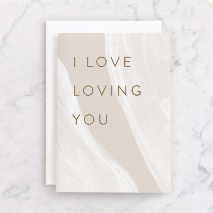"""""""Loving You"""" - Individual Just Because Greeting Cards in Beige by Pixel and Hank."""
