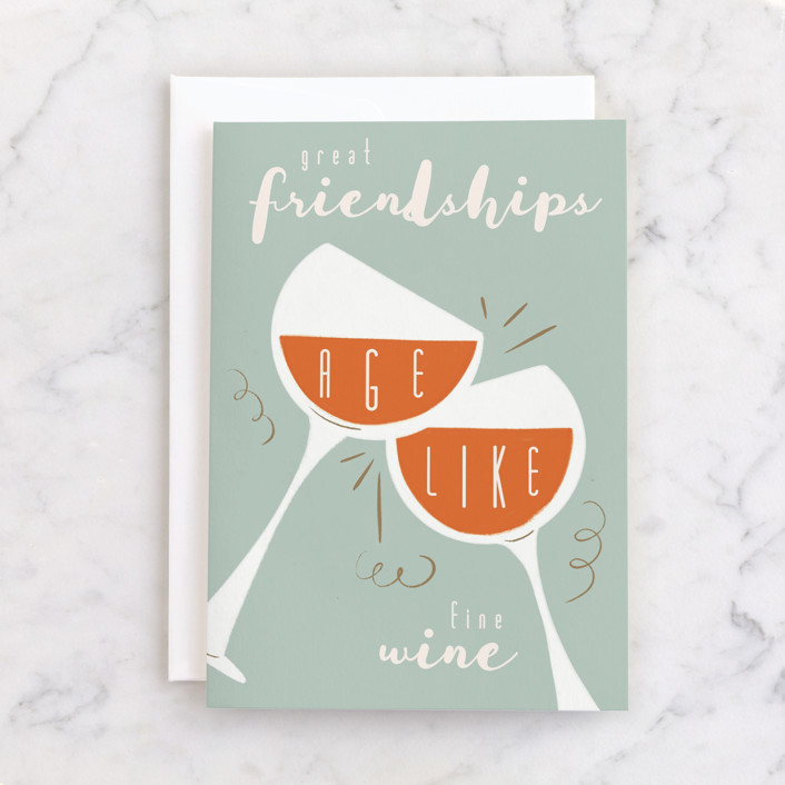 """""""Fine Wine"""" - Individual Just Because Greeting Cards in Mint by Gwen Bedat."""