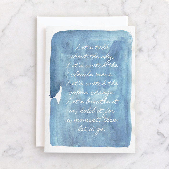 """""""let's talk about the sky"""" - Individual Just Because Greeting Cards in Aqua by Erin McCluskey Wheeler."""