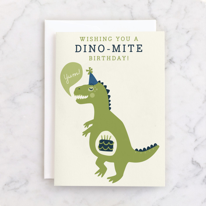 """""""Cakeasaurus Dinosaur"""" - Individual Kid's Birthday Greeting Cards in Parchment by Melissa Egan of Pistols."""
