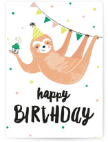 This is a brown birthday cards for kid by Melissa Egan of Pistols called Party Sloth with standard printing on signature in greeting cards.