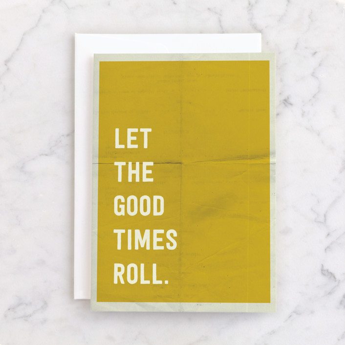 """Let the Good Times Roll"" - Individual Kid's Birthday Greeting Cards in Sunshine by Morgan Kendall."