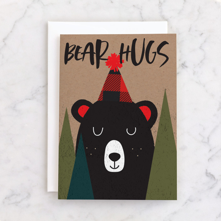 """""""Bear Hugs"""" - Individual Kid's Birthday Greeting Cards in Forest by Susan Brown."""