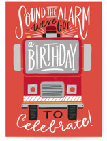 This is a red birthday cards for kid by Alethea and Ruth called Sound the Alarm Firetruck with standard printing on signature in greeting cards.