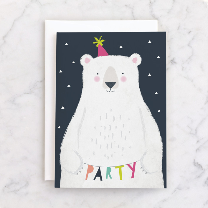 """""""party bear"""" - Individual Kid's Birthday Greeting Cards in Navy by Karidy Walker."""