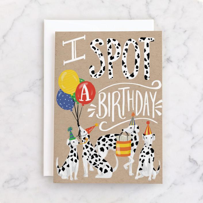 """Spot a Birthday"" - Individual Kid's Birthday Greeting Cards in Kraft by Shiny Penny Studio."